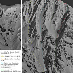 Not your average trail map...Hunt draws the lines on Atwell, the beast that looms over Squamish, BC