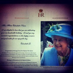 """""""Dear Granna...Congratulations on absolutely crushing it for the last 100 years. Sincerely, The Queen."""""""