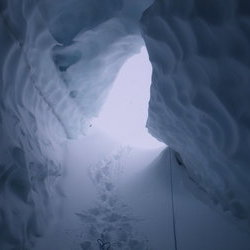 exploring ice cave